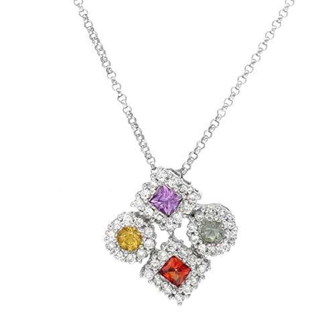 14KWhite Gold 1.14CTW Sapphire & Diamond Necklace