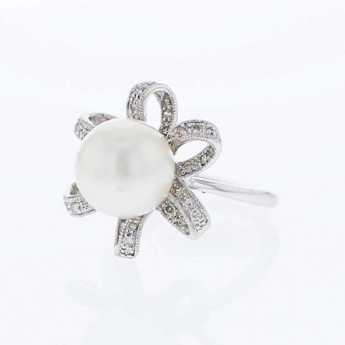 South Sea Pearl w/ Flower Diamonds Cocktail Ring in 18K