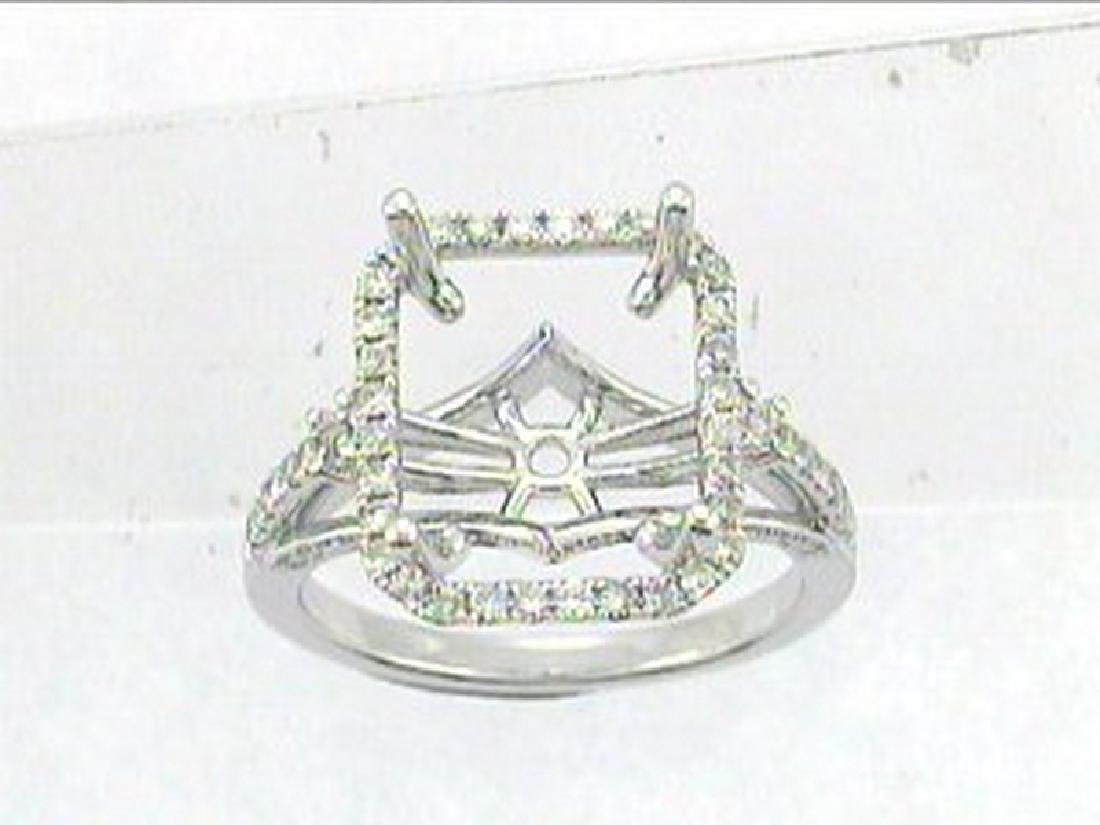 14K White Gold 0.39CTW Diamond Semi Mount Ring