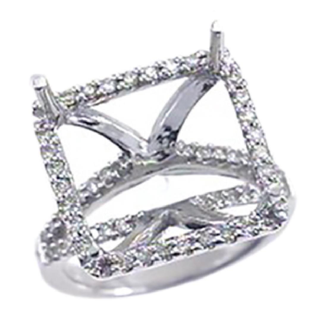 14K White Gold 0.63CTW Diamond Semi Mount Ring