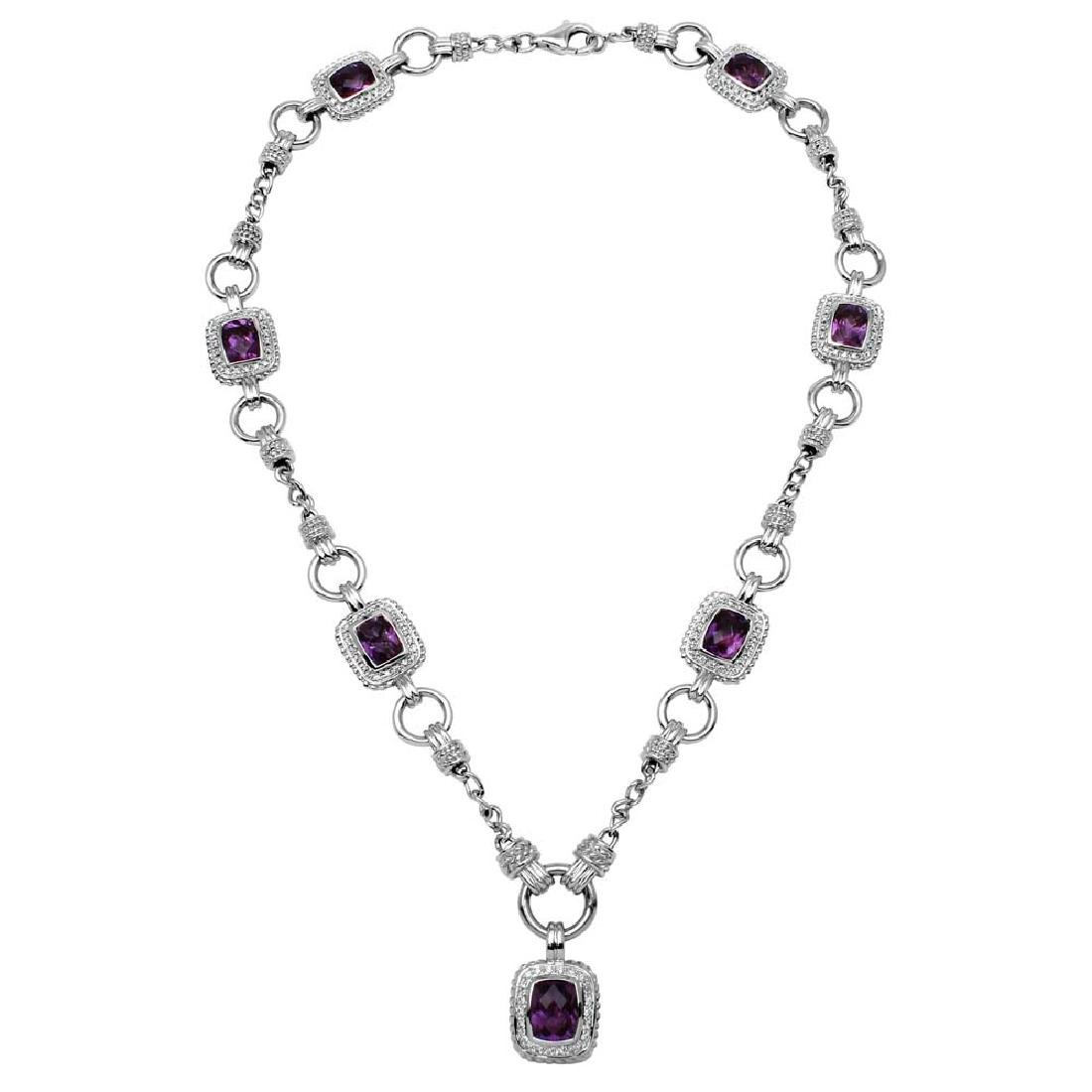 14K Gold 11.83 CTW Amethyst & Diamond Necklace