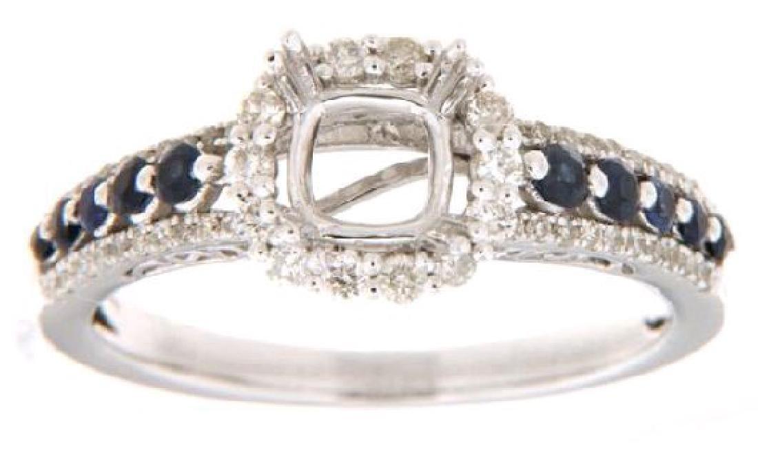 14K White 0.66CTW Ladies Sapphire Semi Mount Ring