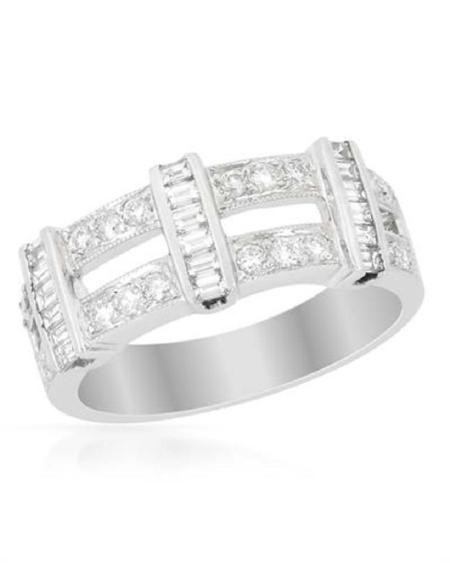 14KWhite Gold 0.67CTW Baguette & Diamond Band Ring