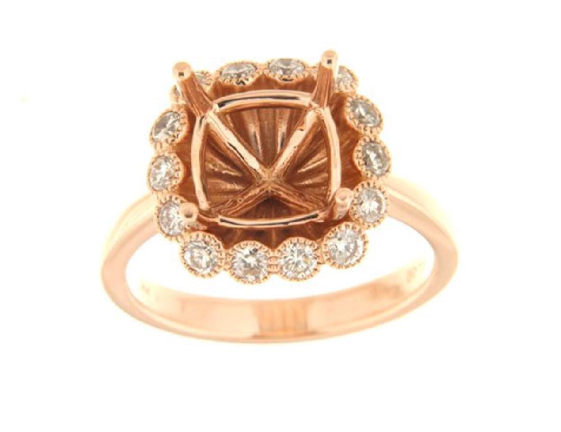 14K Rose Gold 0.59CTW Diamond Semi Mount Ring