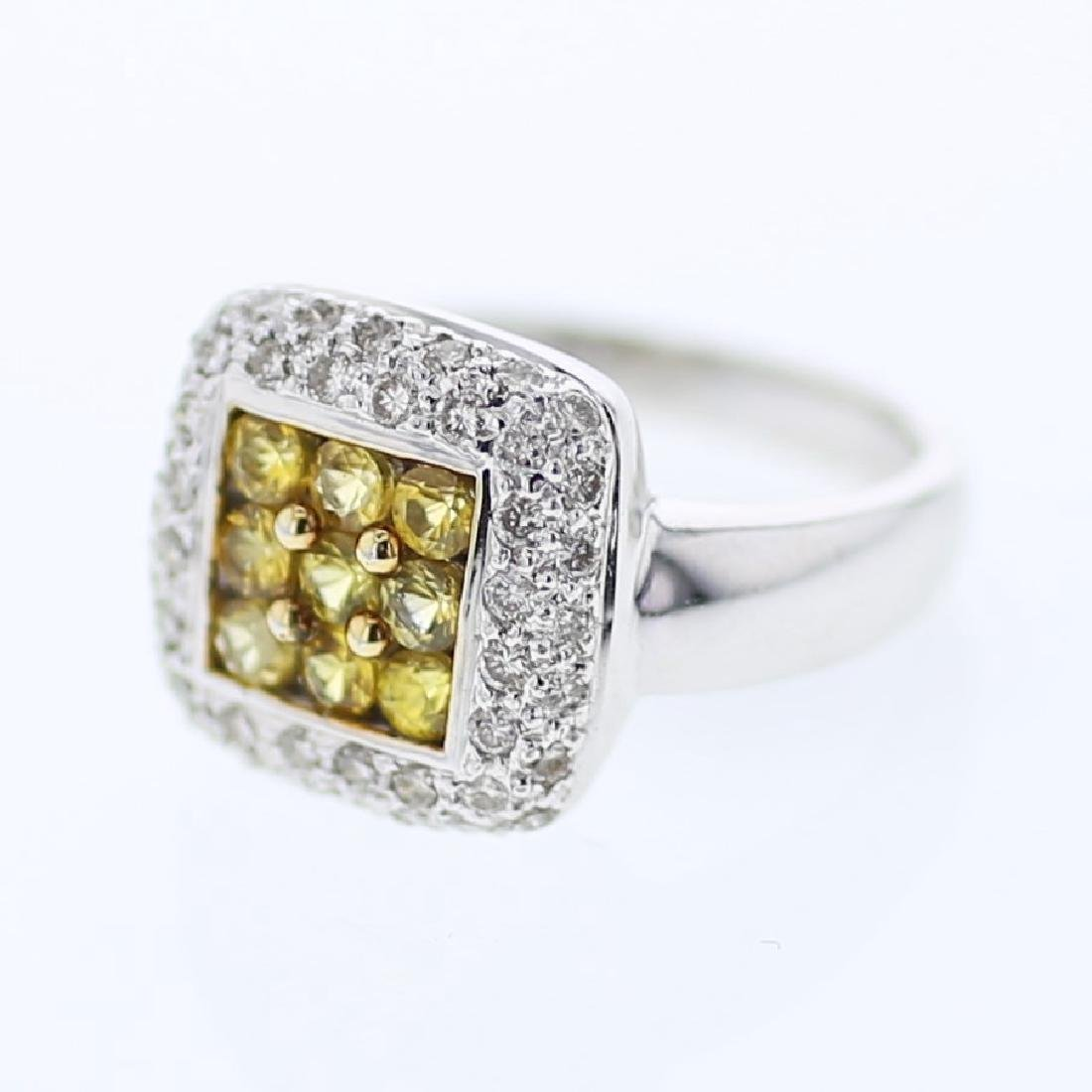 Pave Yellow Sapphire with Diamond Ring in 14K White