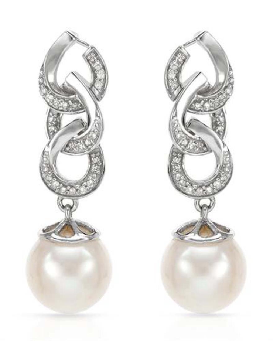 14KWhite Gold 11.32 CTW Pearl & Diamond Earring