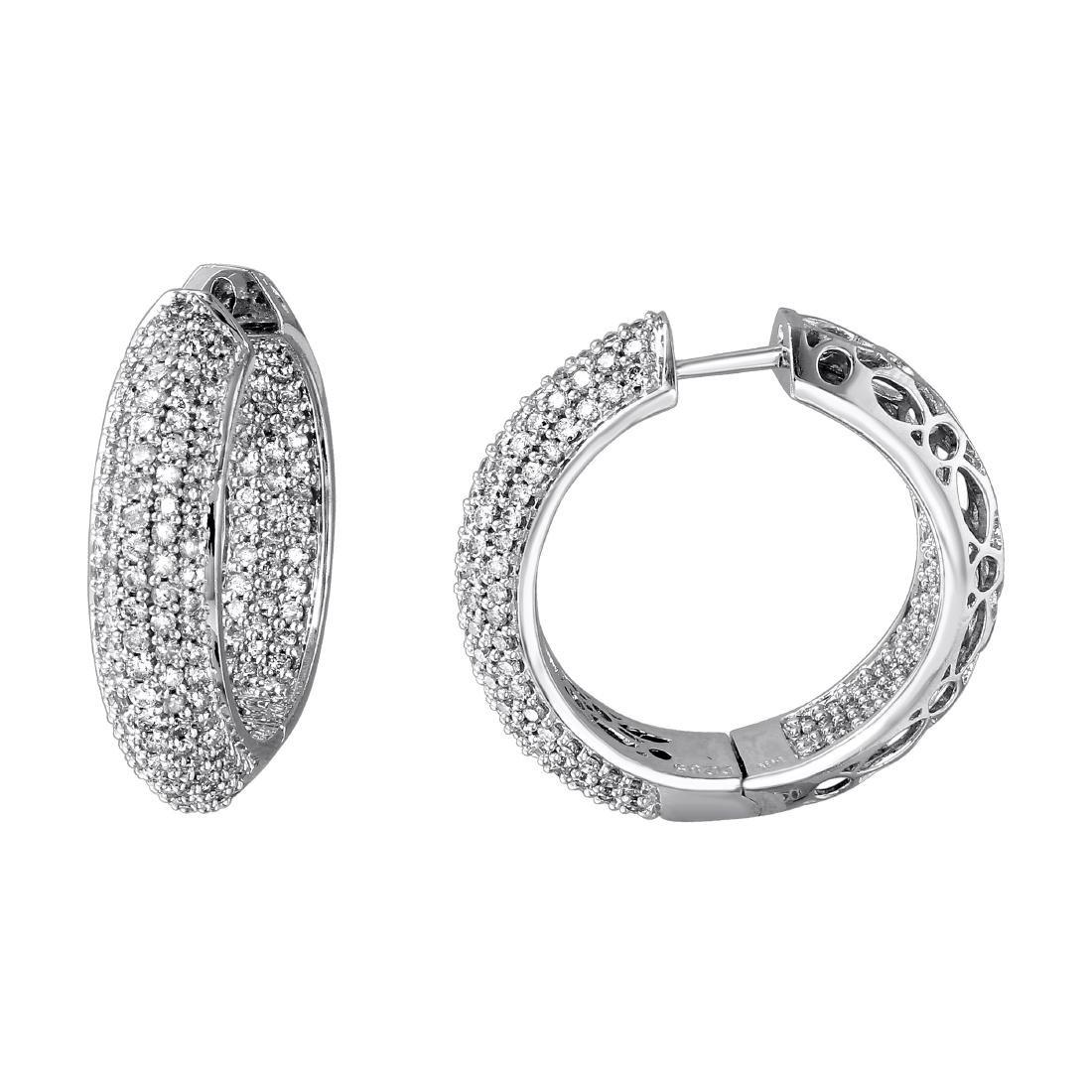 Genuine 2.85 TCW 14K White Gold Ladies Earring