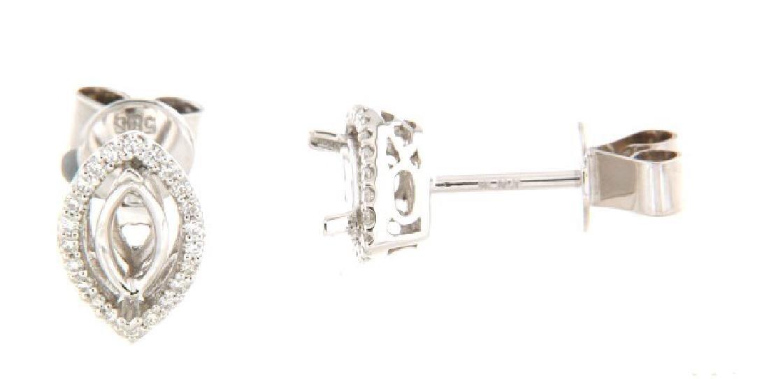 14K White Gold 0.2CTW Diamond Semi-Mount Earrings