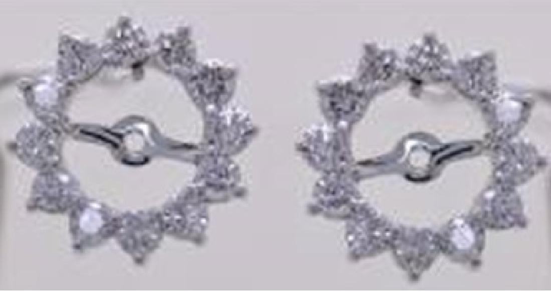 14K White Gold 0.97CTW Diamond Earring Jackets