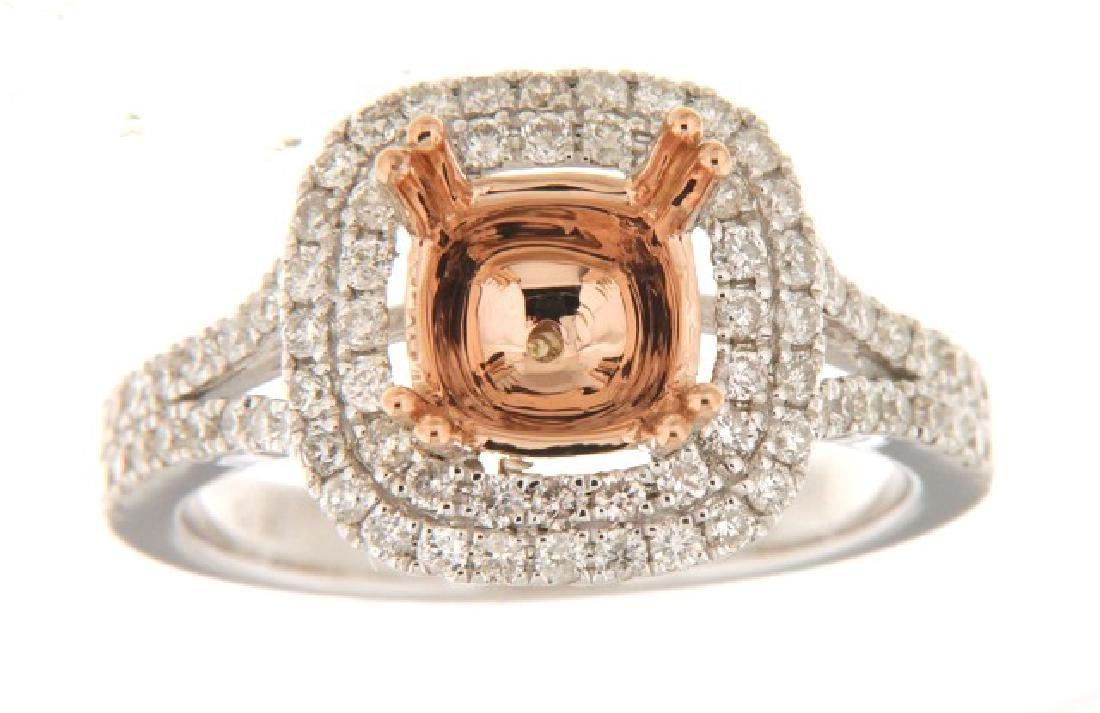 14K Two Tone Gold 0.73CTW Diamond Semi Mount Ring