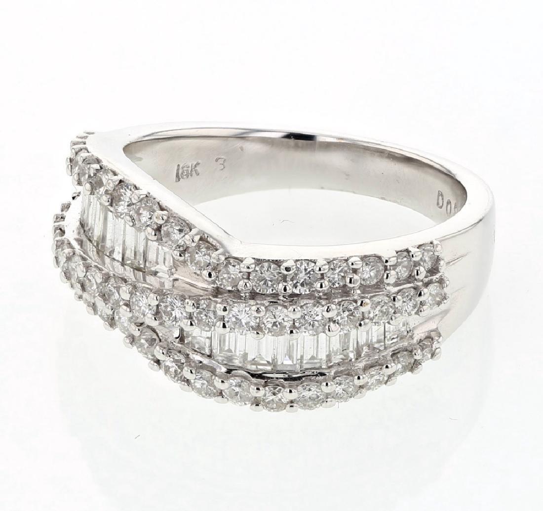 Round & Baguette Diamond Ring in 18K White Gold
