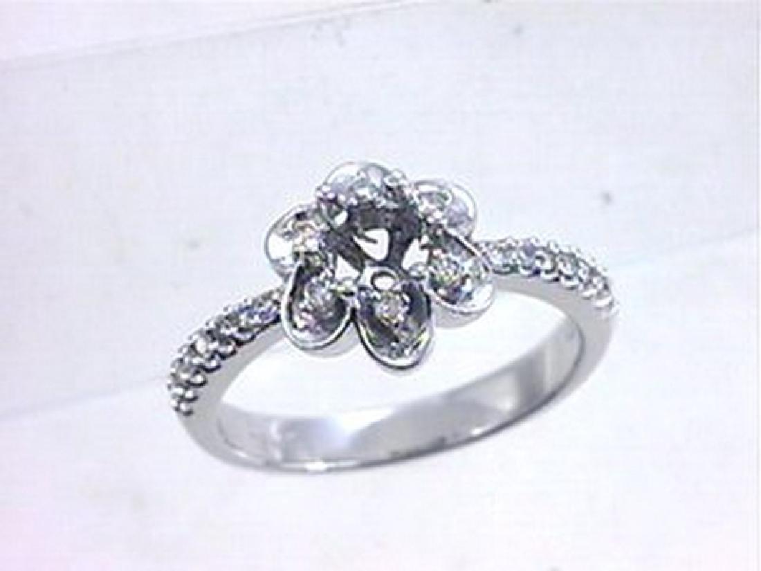 14K White Gold 0.22CTW Diamond Semi Mount Ring