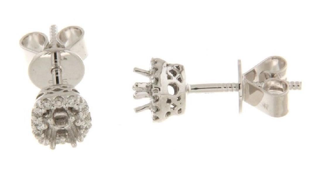 14K White 0.15CTW Ladies Diamond Semi Mount Earring