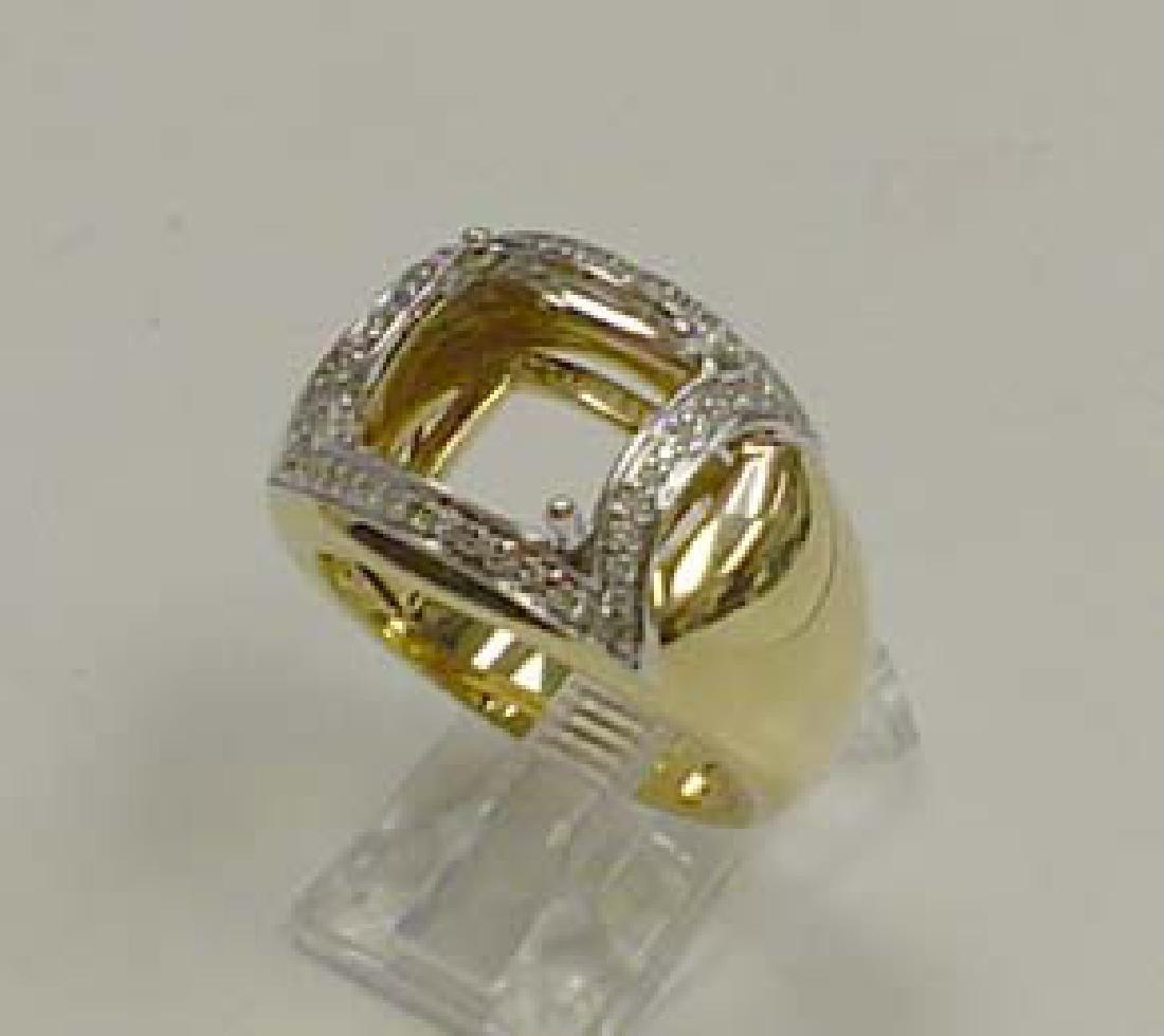 14K Two Tone Gold 0.22CTW Diamond Semi Mount Ring