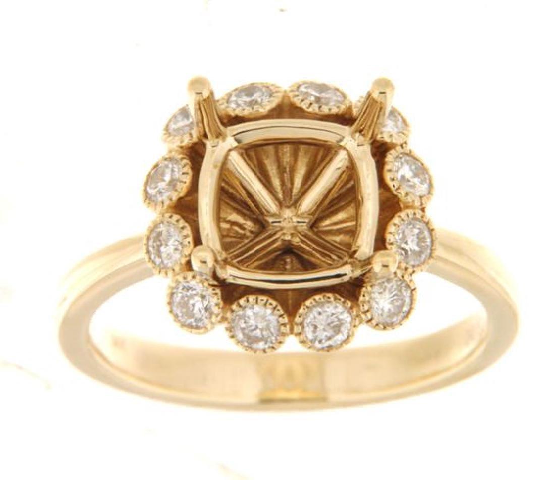 14K Yellow Gold 0.52CTW Diamond Semi Mount Ring