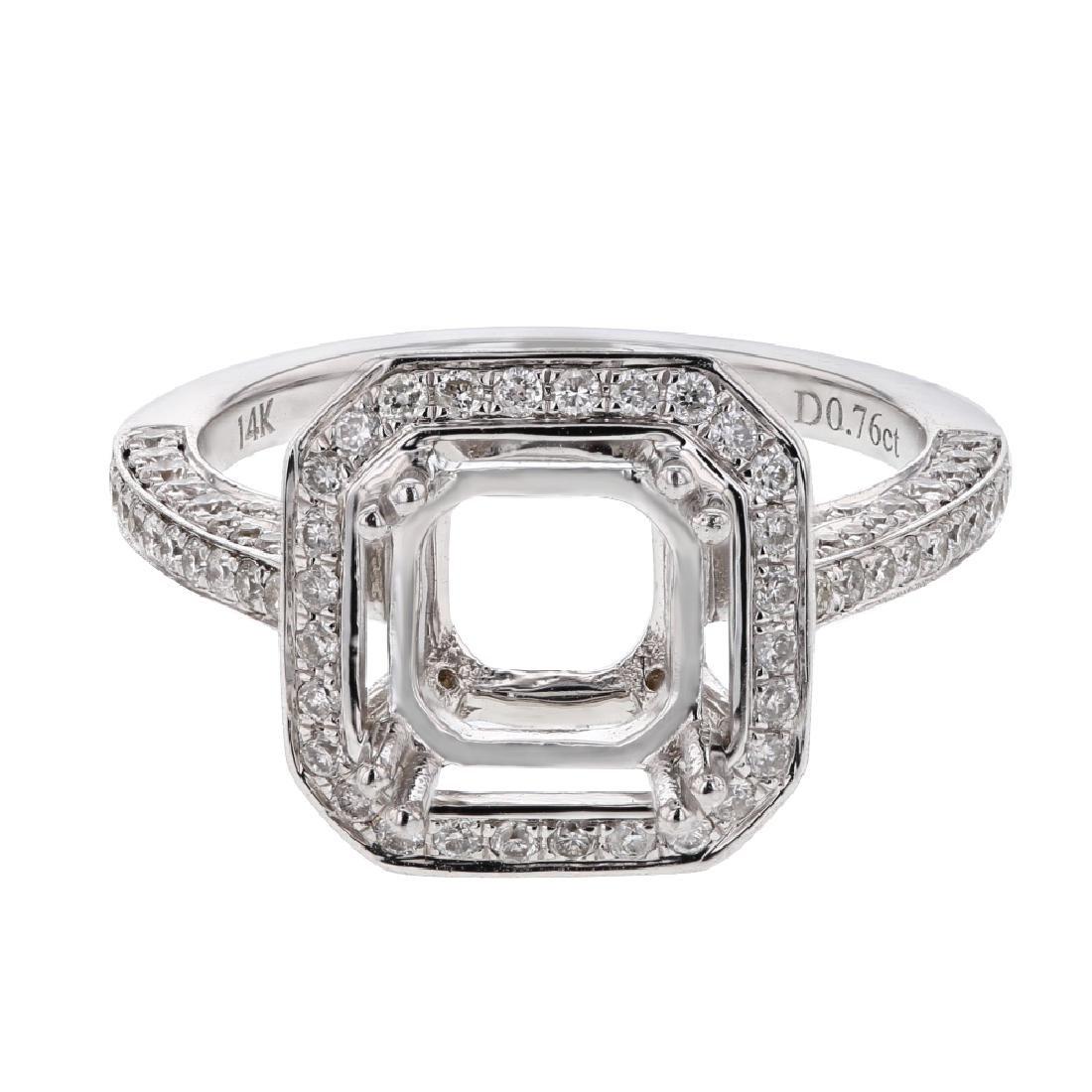 14K White Gold 0.98CTW Diamond Semi Mount Ring