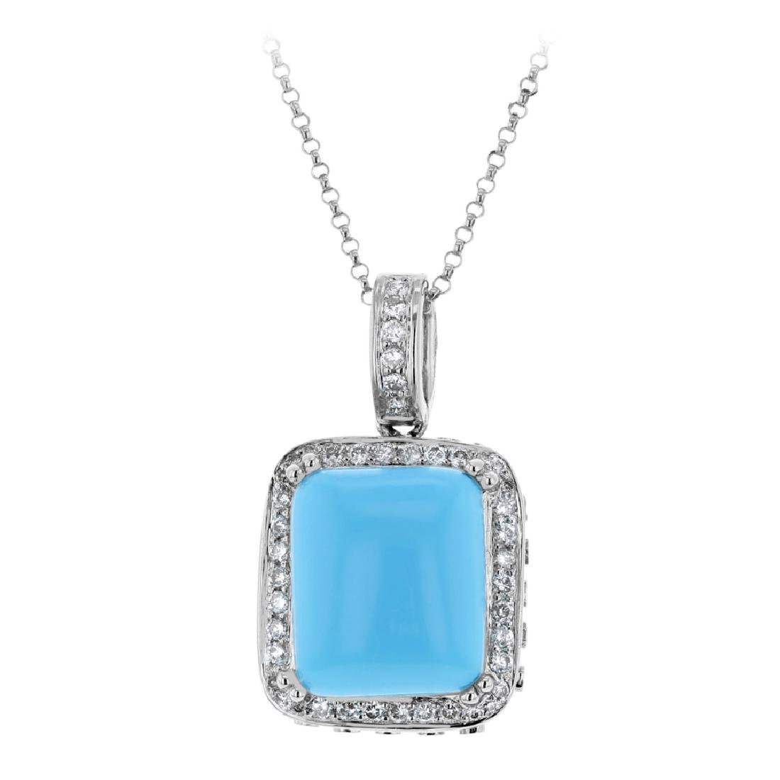 14K White Gold 6.89CTW Turquoise Necklaces