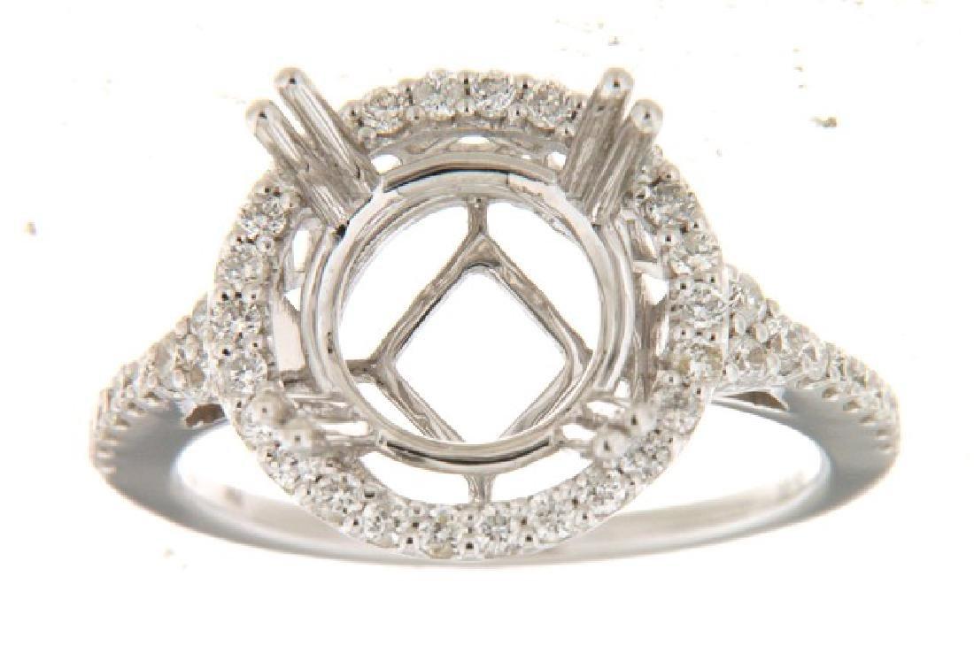 14K White Gold 0.5CTW Diamond Semi Mount Ring