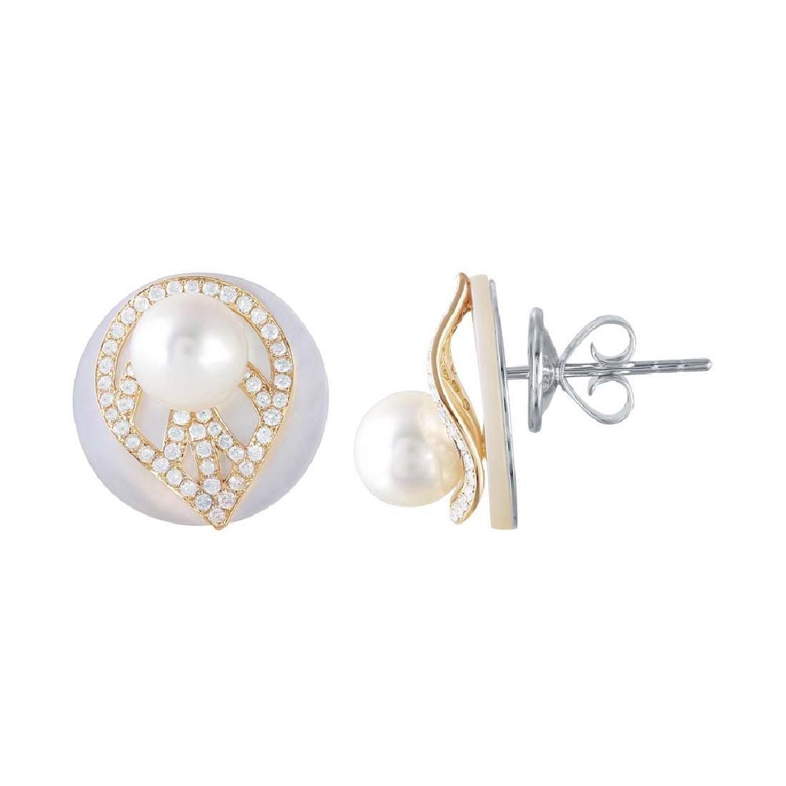 14K Gold 0.56 CTW Diamond & Pearl Earring