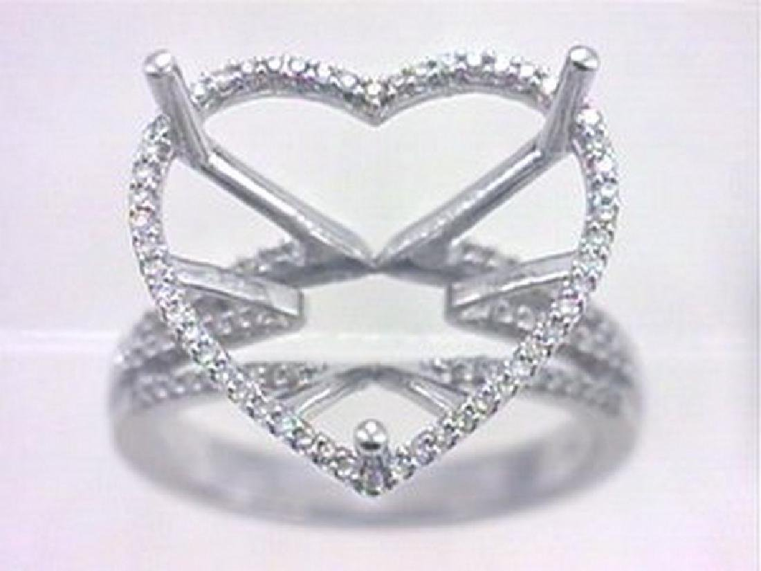 14K White Gold 0.37CTW Diamond Semi Mount Ring