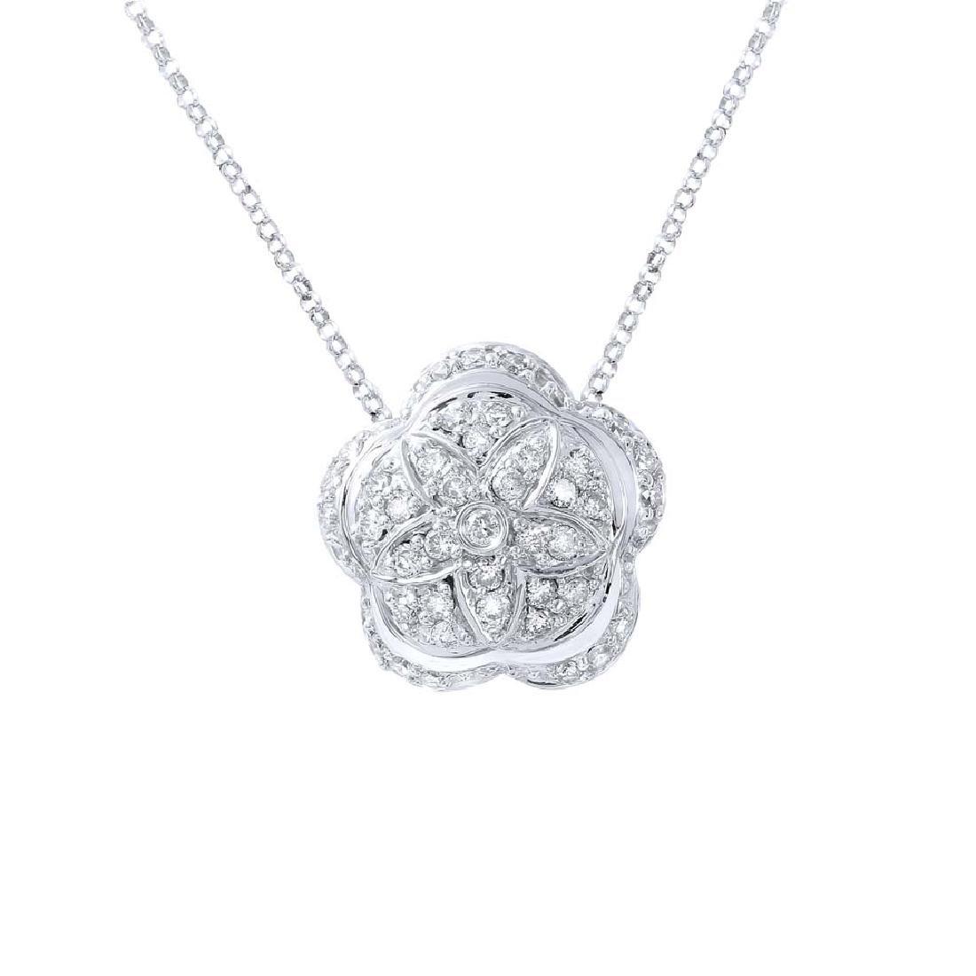 Genuine 0.8 TCW 14K White Gold Ladies Necklace