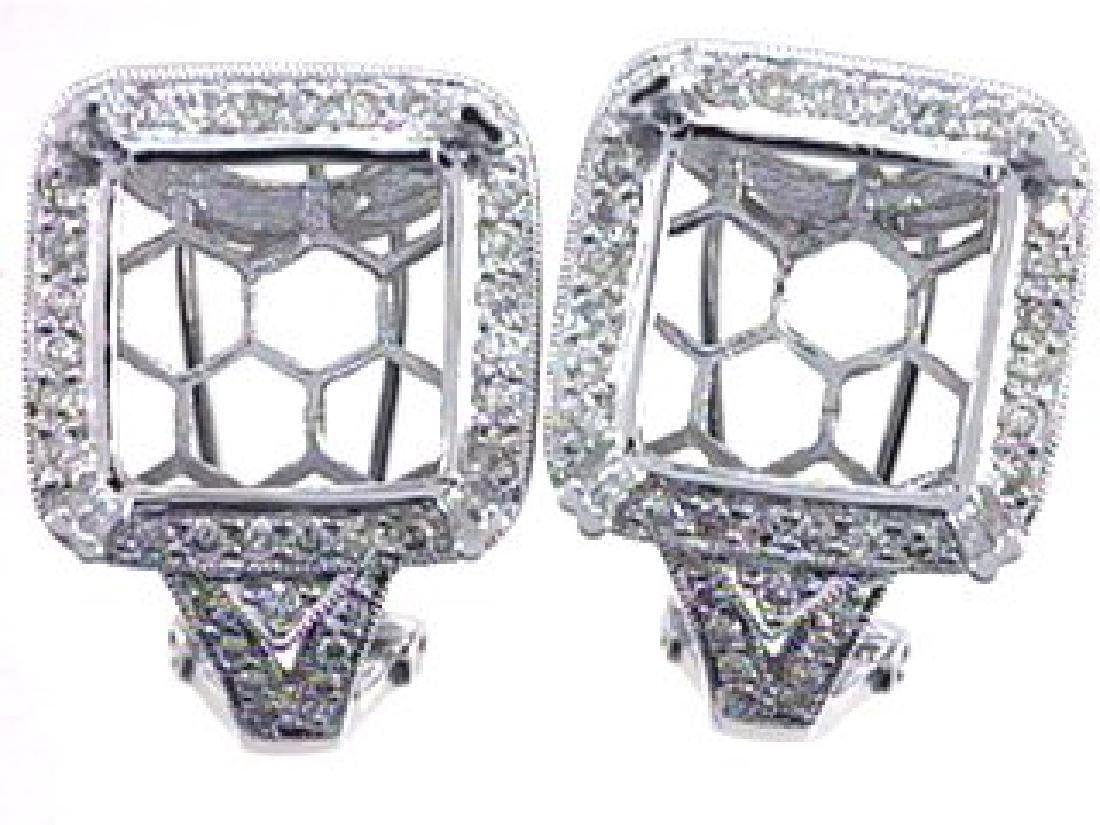 14KWhite Gold 0.95CTW Diamond Semi-Mount Earrings