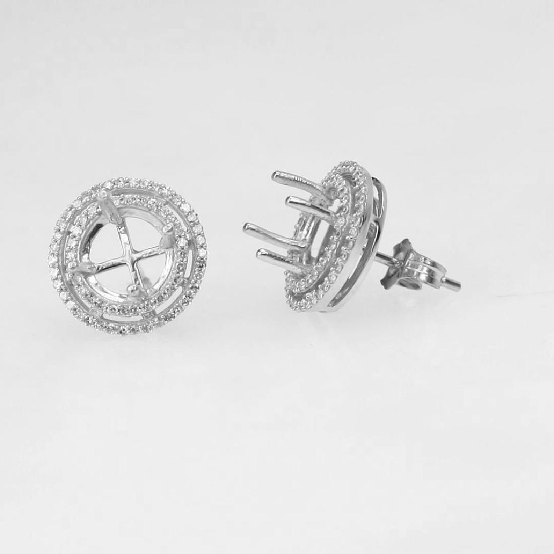 14K White Gold 0.39CTW Diamond Semi-Mount Earrings