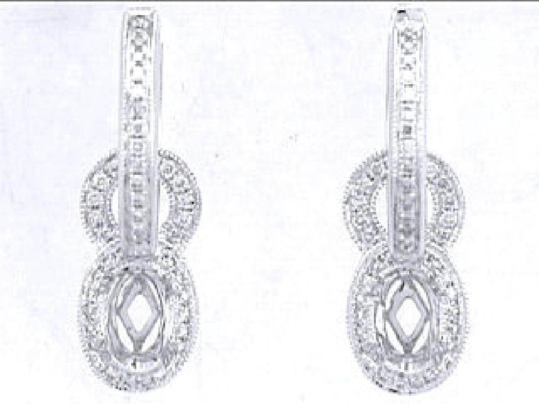 14K White Gold 0.29CTW Diamond Semi-Mount Earrings