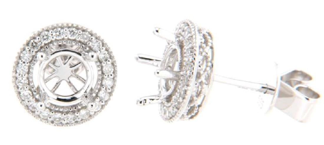 14K White Gold 0.27CTW Diamond Semi-Mount Earrings