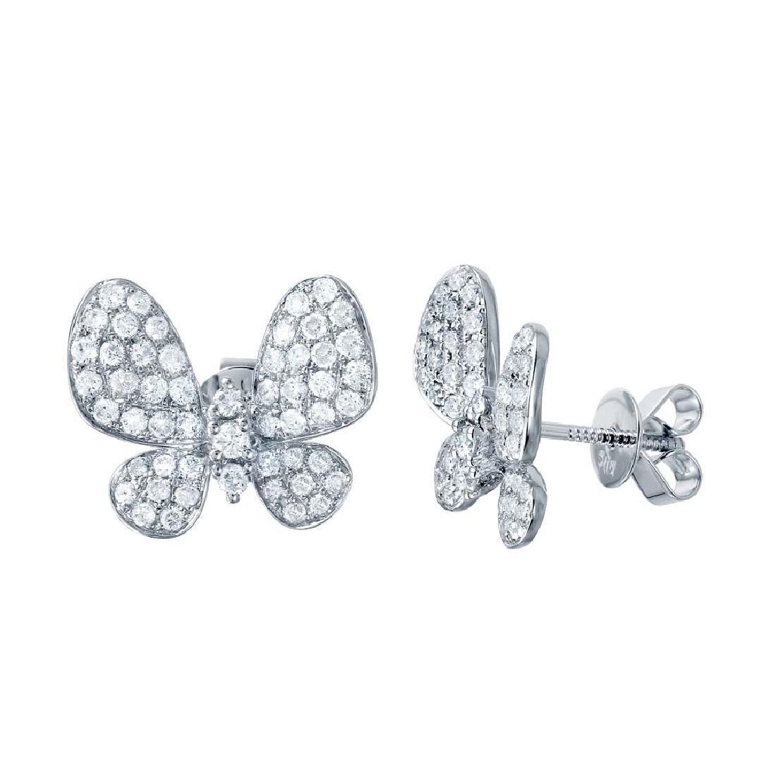 Genuine 1.31 TCW 14K White Gold Ladies Earring