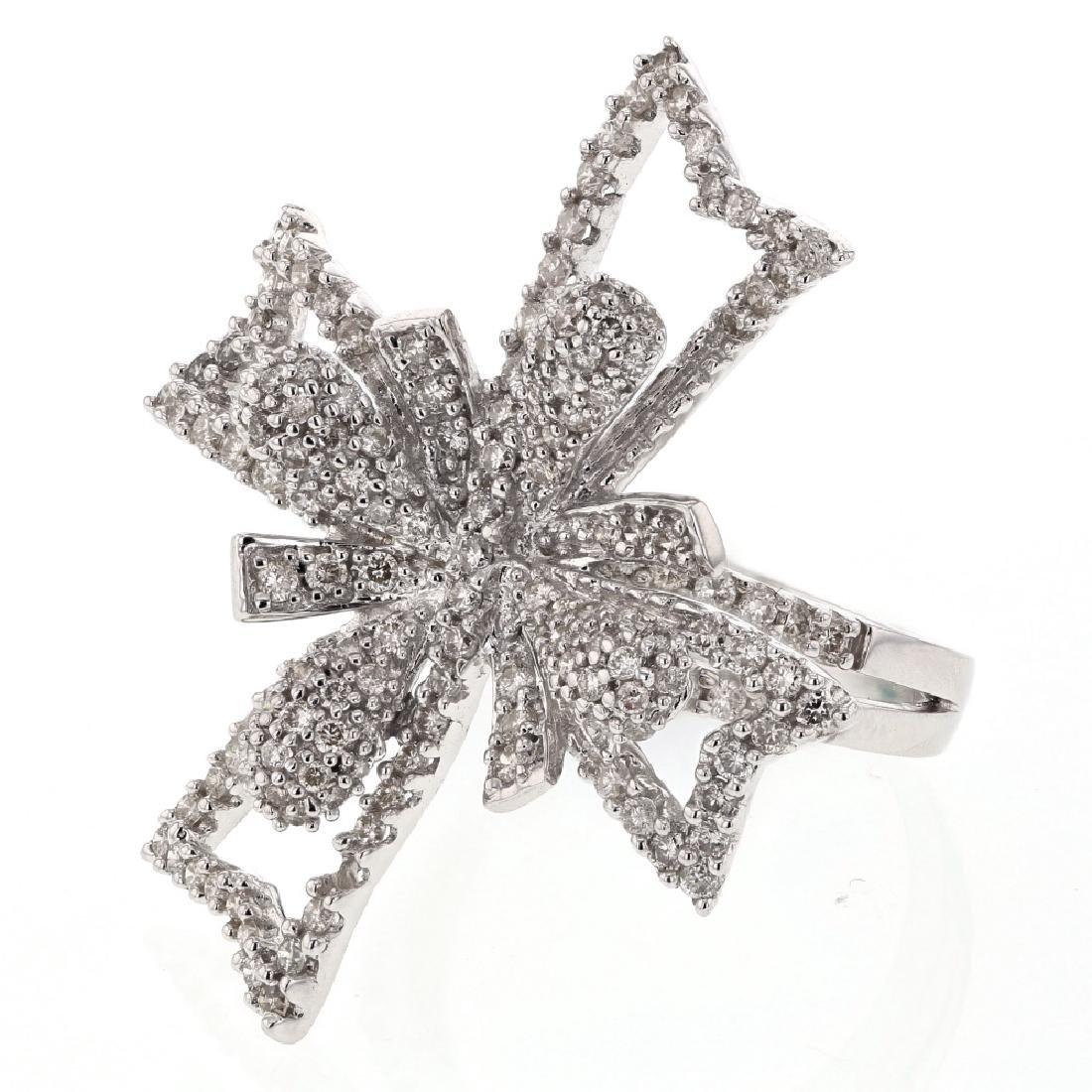 Flower Design Prong & Pave-set Diamond Ring in 14K