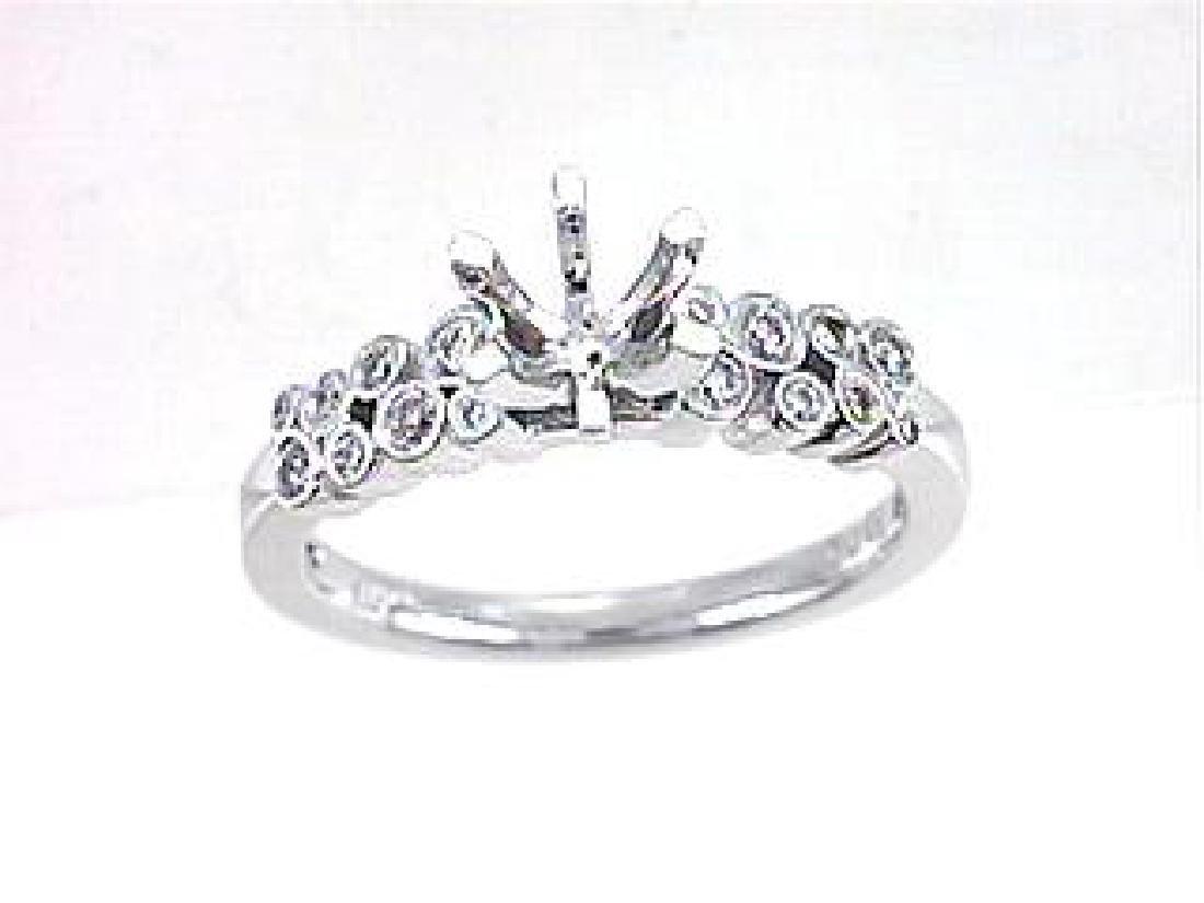 18K White Gold 0.19CTW Diamond Semi Mount Ring