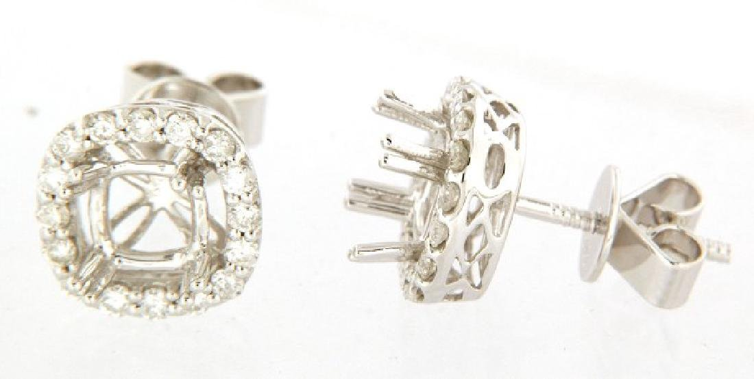 14K White Gold 0.62CTW Diamond Semi-Mount Earrings