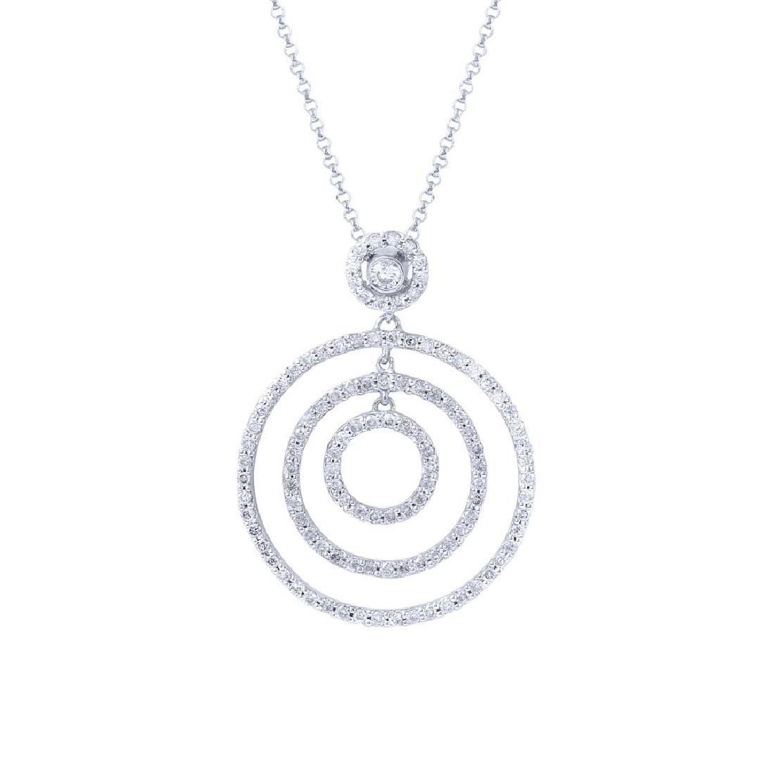 14K White Gold 0.83CTW Ladies Diamond Pendant