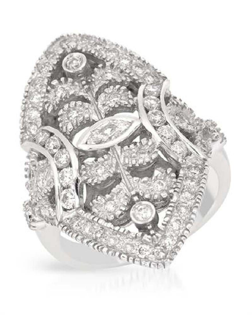 Genuine 1.16 TCW 14K White Gold Ladies Ring
