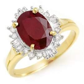 Natural 3.66 ctw Ruby & Diamond Ring 14K Yellow Gold -