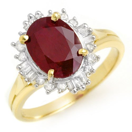 Natural 3.66 ctw Ruby & Diamond Ring 14K Yellow Gold -