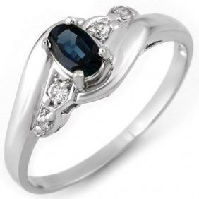 Genuine 0.42 Ctw Blue Sapphire & Diamond Ring 10k White