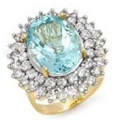 Natural 10.50 ctw Aquamarine & Diamond Ring 14K Yellow