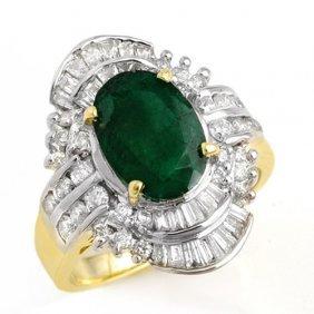 Natural 3.45 Ctw Emerald & Diamond Ring 14k Yellow Gold