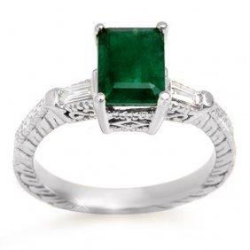 Genuine 2.45 Ctw Emerald & Diamond Ring 14k White Gold