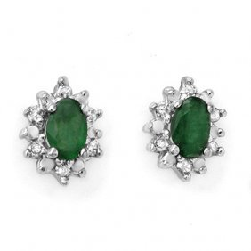 Natural 0.61 Ctw Emerald & Diamond Earrings 10k Yellow