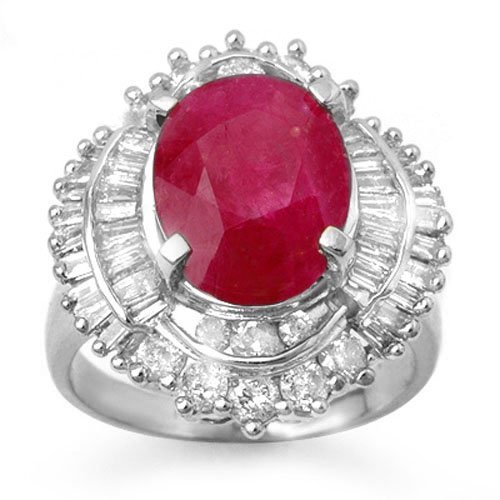 Natural 6.15 ctw Ruby & Diamond Ring 18K White Gold -