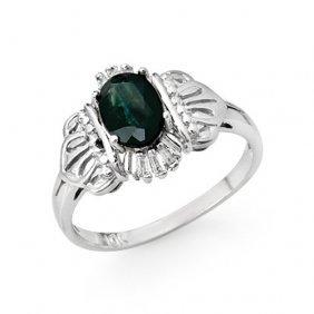 Genuine 1.04 Ctw Blue Sapphire & Diamond Ring 10k White