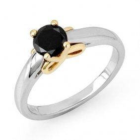 Genuine 0.55 Ctw Black Diamond Solitaire Ring 14k