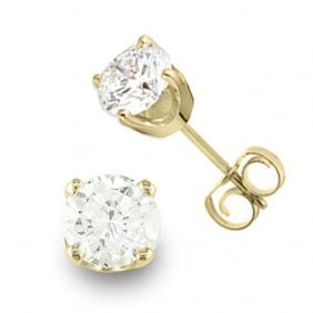 Genuine 0.90 Ctw Diamond Solitaire Stud Earrings 14k