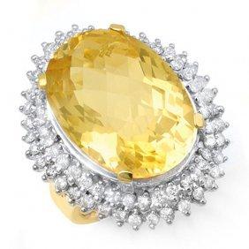 Genuine 37.75 Ctw Citrine & Diamond Ring 14k Yellow