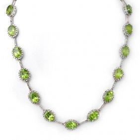 Genuine 45.0 Ctw Peridot & Diamond Necklace 10k White