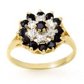 Genuine 1.02 Ctw Blue Sapphire & Diamond Ring 10k