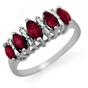 Natural 0.88 Ctw Ruby Ring 18k White Gold -